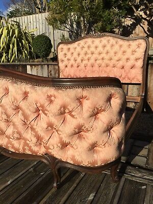 Antique French Corbeille Bed Double Buttoned Pink Shabbychic