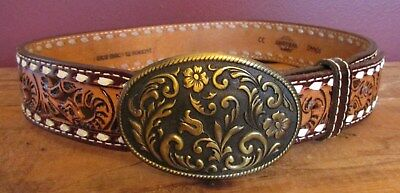 Vintage Wright Tooled Brown Leather Western Belt with Buckle 32