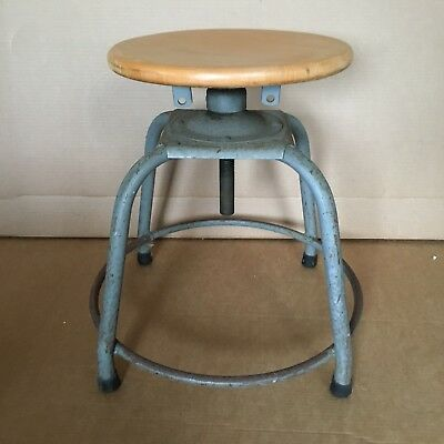 "VTG INDUSTRIAL MACHINE AGE GRAY METAL STOOL w 14"" MAPLE SEAT chair"