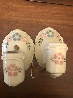 Pair Vintage Porcelier Porcelain Bathroom Bedroom Wall Sconces Lights Dogwood