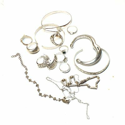 925 STERLING SILVER Assorted Collection of Bangles/Rings/Chains, 122.08g - K11