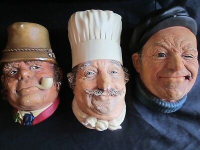 Lot of 3 Vintage-Bossons-Handpainted-Chalkware-Bust- Boatman/Paddy/Chef