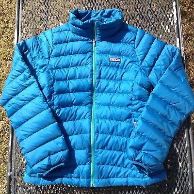 PATAGONIA $119 MSRP Kids Underwater Blue Down Sweater Jacket GIRLS XL 14 Puffer