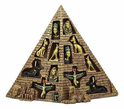 Ancient Egyptian Pyramid Display with 12 Pieces Miniatures Figurines of King Tut