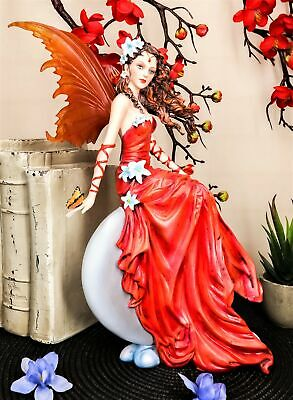 Nene Thomas Celestial Cupid Moon Crimson Lilly Wedding Fairy In Red Gown Statue