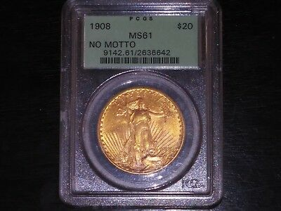 1908 No Motto $20 Dollar St. Gaudens Gold Double Eagle PCGS MS61