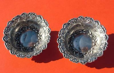 Pair Antique Hm 1902 Sterling Silver Embossed Circular Sweet Dishes