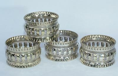 4 x VINTAGE ANTIQUE OPENWORK SILVER PLATED SERVIETTE NAPKIN RINGS -V.G CONDITION