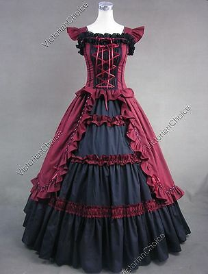 Victorian Gothic Vintage Party Gown Dress Steampunk Theater Clothing 085 XXXL