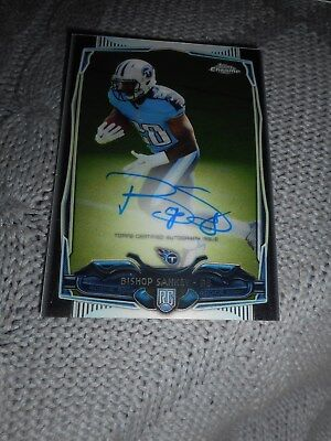 Signed Football Card Bishop Sankey Topps Chrome Certified Autograph Titans 2014