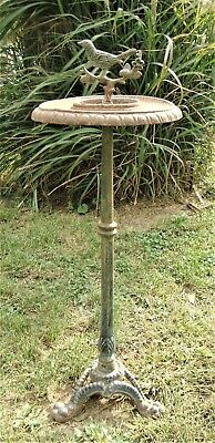 ANTIQUE Vtg VICTORIAN CAST IRON BIRDBATH FEEDER 3 Claw Feet Base RUSTIC GARDEN