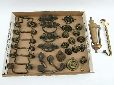 Nice Lot of Antique Hardware - Drawer Pulls, Wheels & Knocker