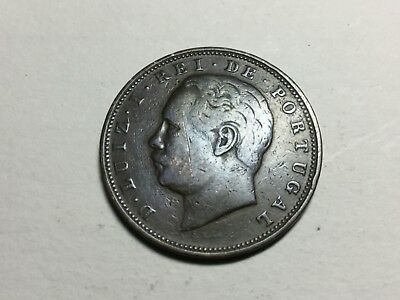 PORTUGAL 1884 10 Reis coin nice condition, scratch on face