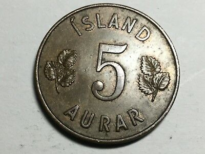 ICELAND 1946 5 Aurar coin extra fine condition