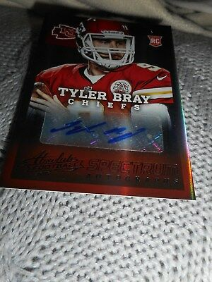 Signed Football Card Tyler Bray Chiefs Autograph Serial #d Rookie 2013 Panini