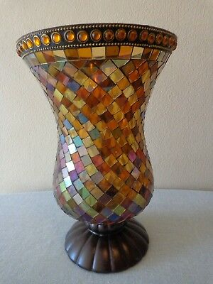 Large Partylite Brown Global Fusion Hurricane Mosaic Glass Candle Holder 3832