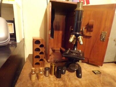 Antique Bausch & Lomb 1900s Brass Microscope with Case and extras
