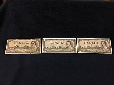 (3) 1954 Bank Of Canada Devils Head One Dollar Bills Circulated