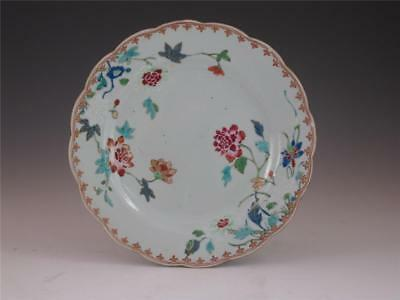 Fine Antique 18Th C Chinese Porcelain Famille Rose Plate Flower Decoration