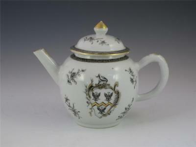 FINE ANTIQUE 18TH C. CHINESE ARMORIAL GRISAILLE & GOLD TEAPOT c. 1755