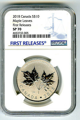 2018 Canada $10 1/2Oz .9999 Silver Ngc Sp70 Maple Leaf Leaves First Releases