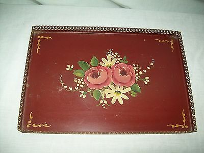 """vintage Tole handpainted tin Burgundy tray with gold lace trim 13"""" by 9"""""""