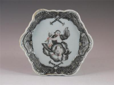 "Fine Antique 18Th C Chinese Porcelain Mythological Subject ""zeus"" Teapot Stand"
