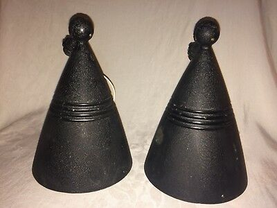 Pair Vintage mid century modern black matte Wall lighting sconces-ExcCond