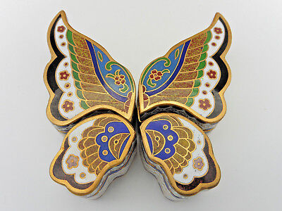 ESTATE Chinese Export Cloisonne Butterfly 4 Section Trinket BOX With Fitted Box