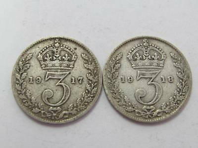 Britain A Pair Of Silver 3 Pence Better Dates 1917 1918 Nice Type Coins