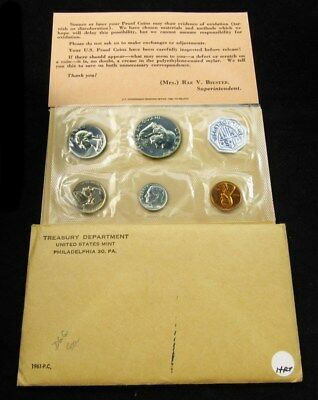 1961 US Mint Silver Proof Set Flat Pack w/ COA & Envelope - 5 Coins Uncirculated