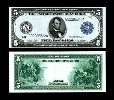 Fr. 871a $5 1914 Federal Reserve Note ~~ ALMOST UNCIRCULATED