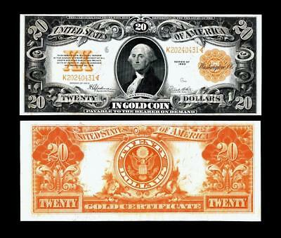 Fr. 1187~~1922 $20.00 ~~. LARGE SIZE GOLD CERTIFICATE~~ALMOST UNCIRCULATED