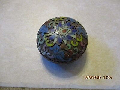Vintage Cloisonne Trinket Ring Box Painted Enamel Pill Jewelry Dresser Vanity