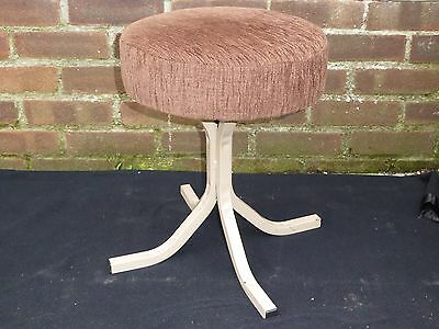 Vintage Retro Industrial Style 1970s Metal Upholstered Low Stool Home Pub Bar