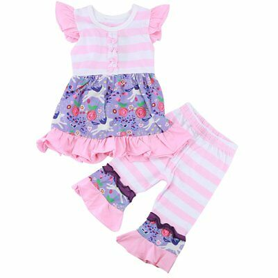2PCS Toddler Kids Baby Girl Clothes Dress T-shirt Tops+Pants Ruffled Outfits Set
