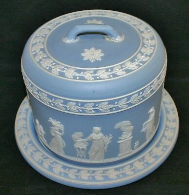 Antique WEDGWOOD Light Blue Jasper Ware Large Domed Cheese Dish & Cover