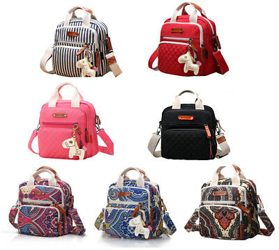 Quality Canvas Multi-function Tote Messenger Backpack Baby Nappy Changing Bag