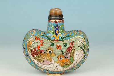 Vintage Chinese Copper Cloisonne Hand Carved Mandarin duck Statue Snuff Bottle