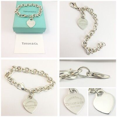 Stunning Solid Silver Return To Tiffany  Heart Tag Bracelet Rrp £365