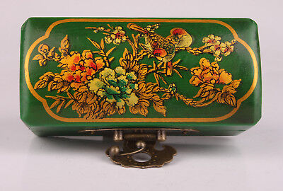 Green Ornament Leather Jewelry Box Flower Bird Crafts Gift Collection China
