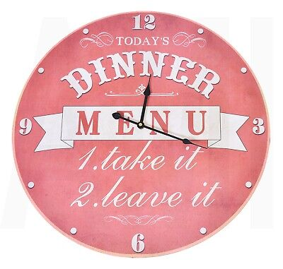 Extra Large Round 58cm Wall Clock 'Dinner Menu' Kitchen Cafe Home Wooden Rustic