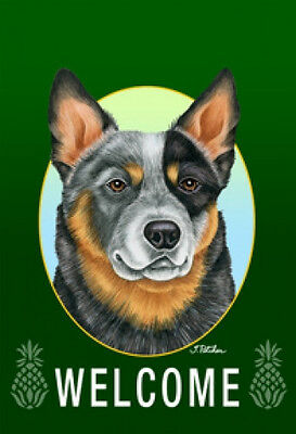 Large Indoor/Outdoor Welcome Flag (Green) - Australian Cattle Dog 74072