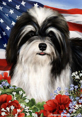 Garden Indoor/Outdoor Patriotic I Flag - Black & White Havanese 160921