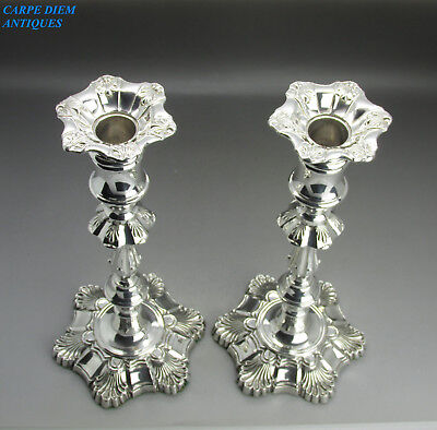 "HEAVY PAIR GEORGIAN STYLE SOLID STERLING SILVER 10"" CANDLESTICKS FH 1020g, 1938"