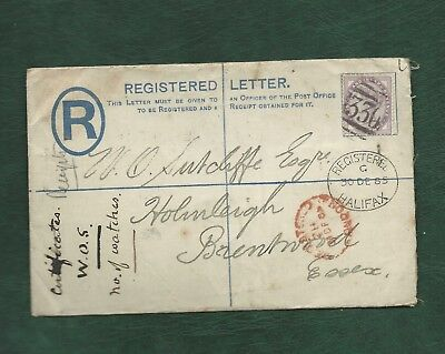 GB 1885 Queen Victoria penny 1d lilac on registered cover Halifax to Brentwood