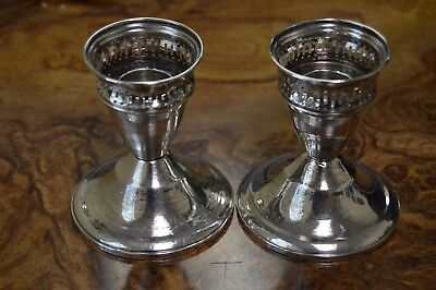 Vintage DUCHIN Sterling Silver Weighted PAIR of Candlestick Holders