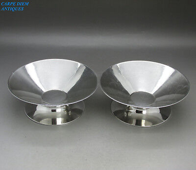 FANTASTIC PAIR HEAVY SOLID STERLING SILVER ART DECO BON BON DISHES G&S 388g 1932
