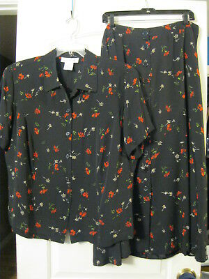 Jones New York, 18/20W, 2 Pc Shirt & Skirt Set, Silk, Black w Red/White Flowers