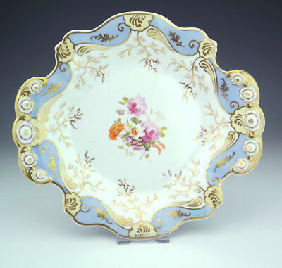Antique English Porcelain Hand Painted Floral Decorated Cake Plate - Early!